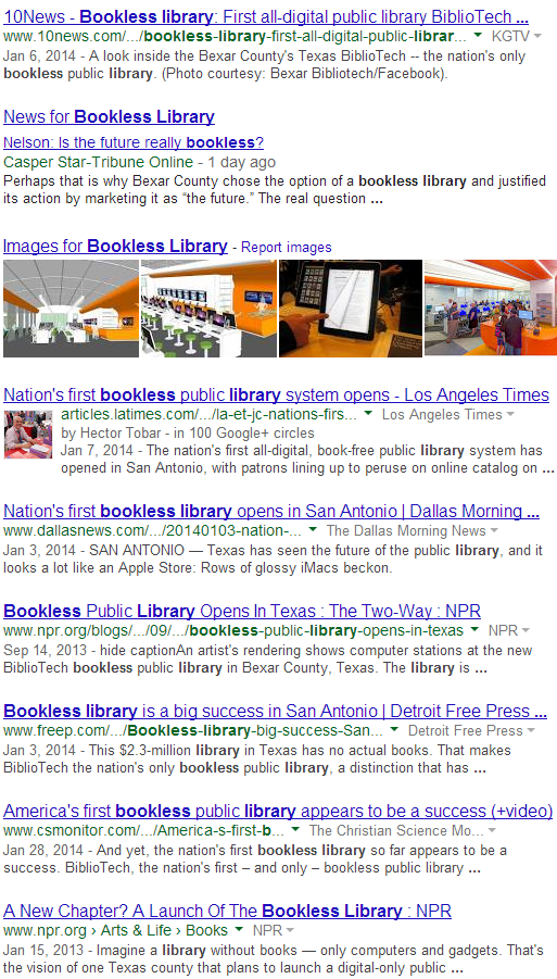 Bookless Library as a search term on Google