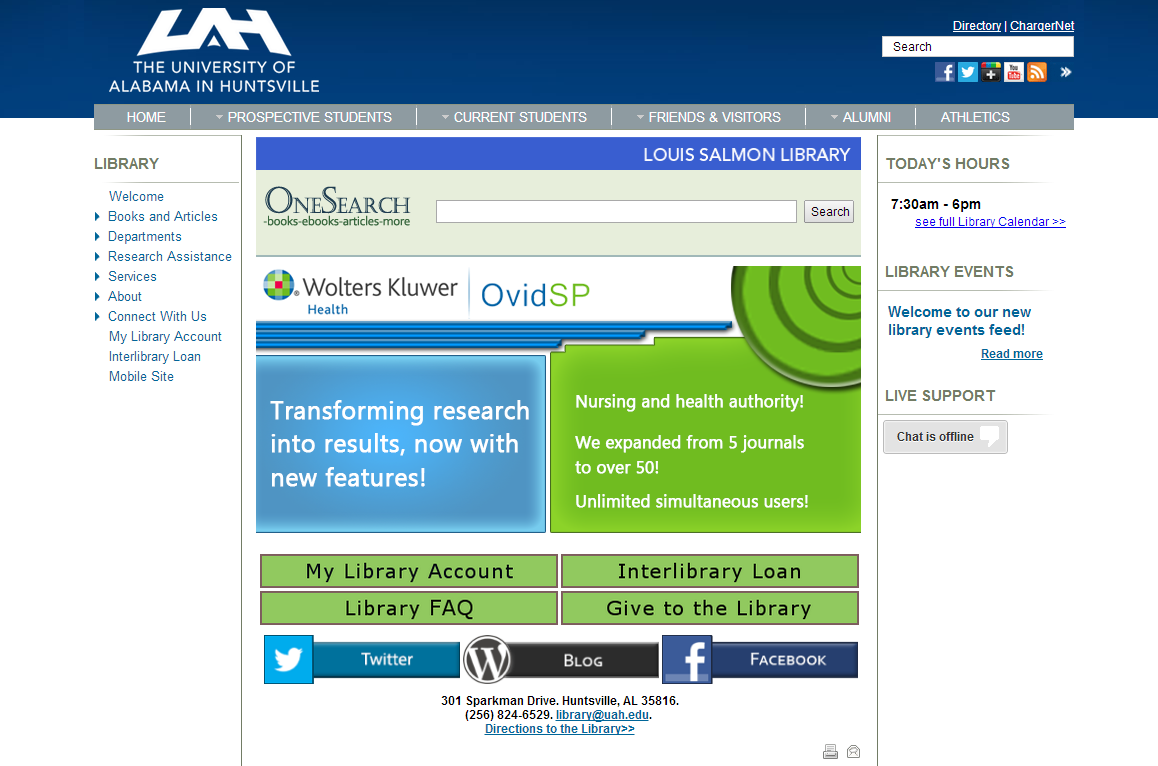 The May Layout of the UAH Salmon Library Website