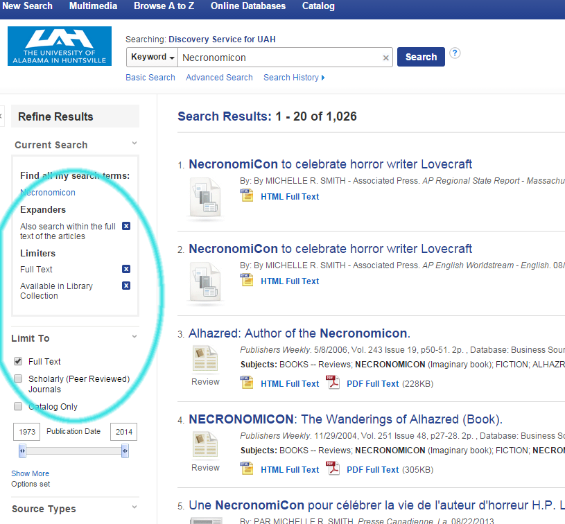 OneSearch screen with the new options highlighted on the left side: Full Text and Library Collection