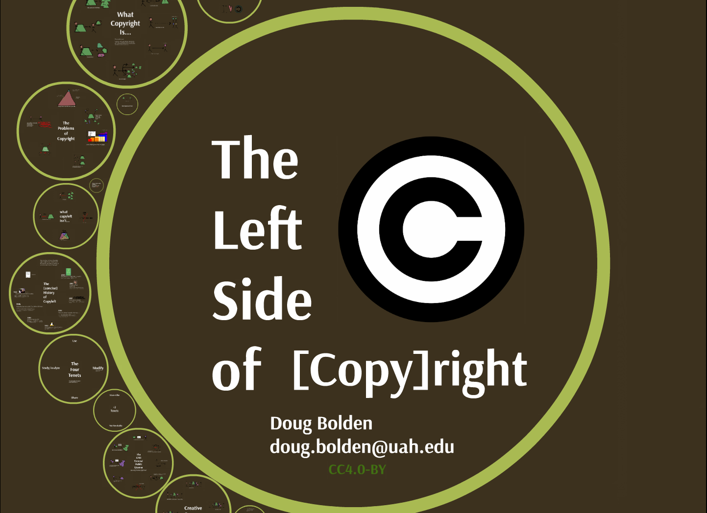"opening shot for the talk, showing a circle and the title ""Left Side of [Copy]right"""