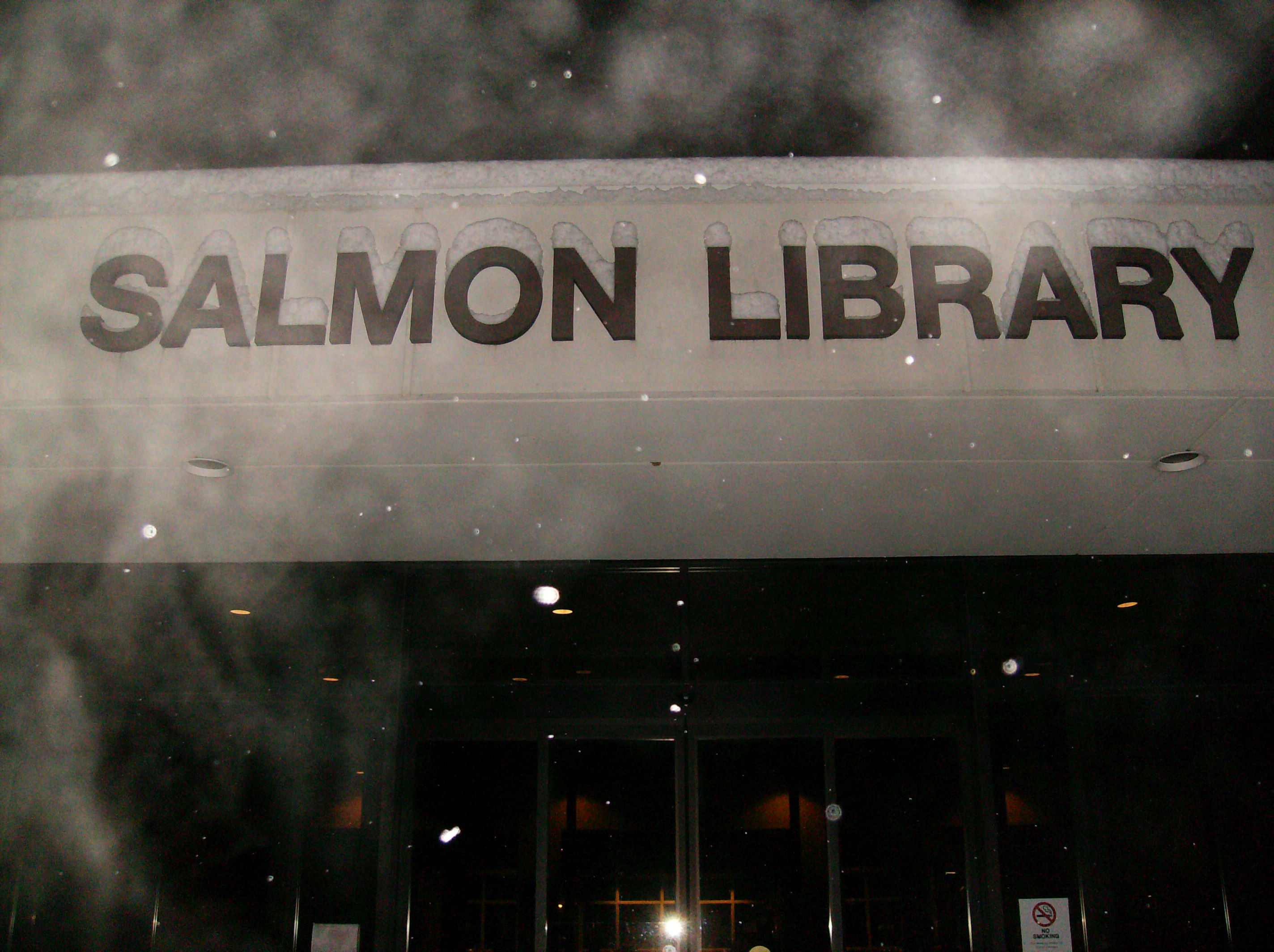 Front of Salmon Library, snow building up on sign