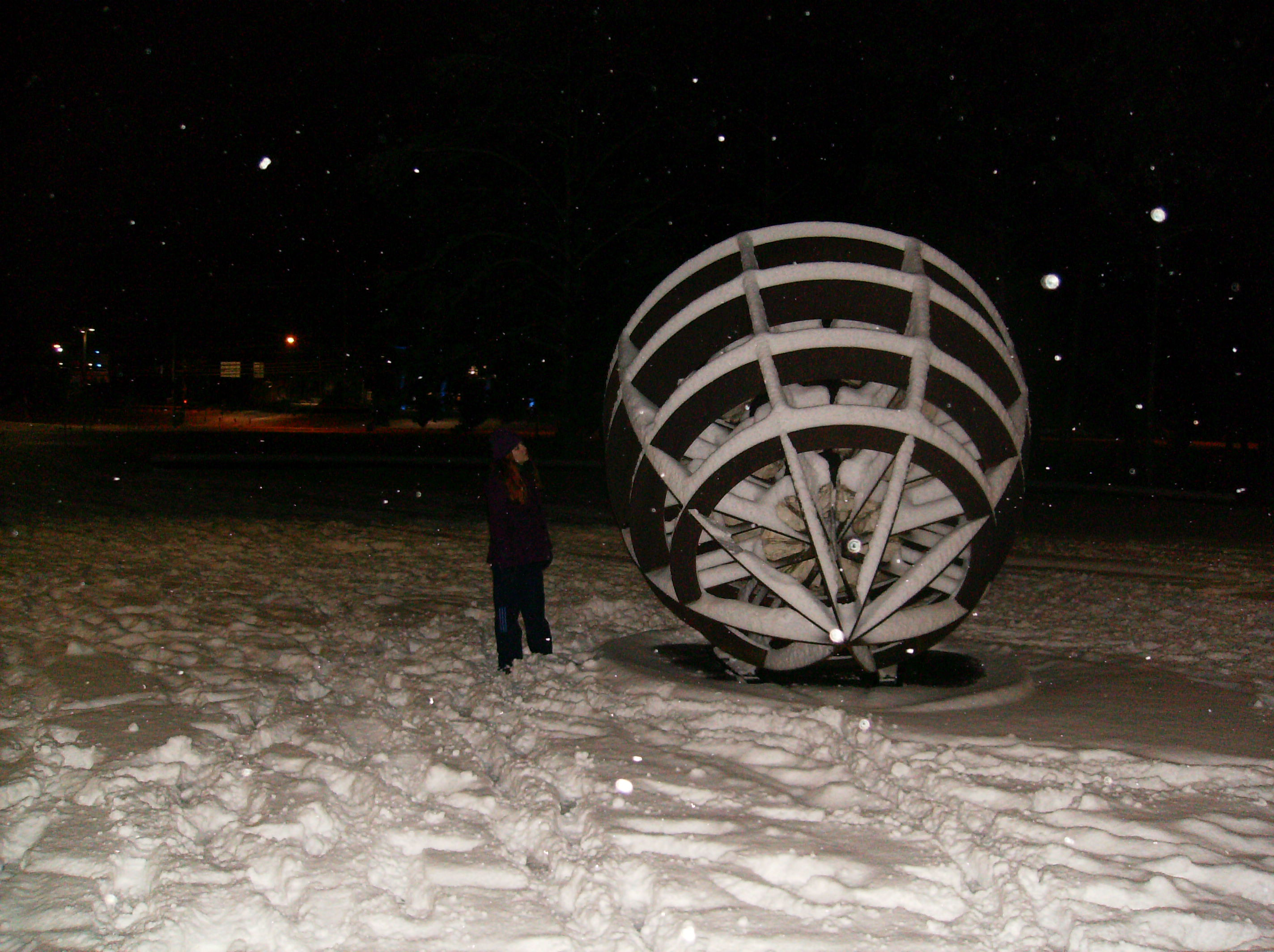 The Geode outside of the Library, covered in snow