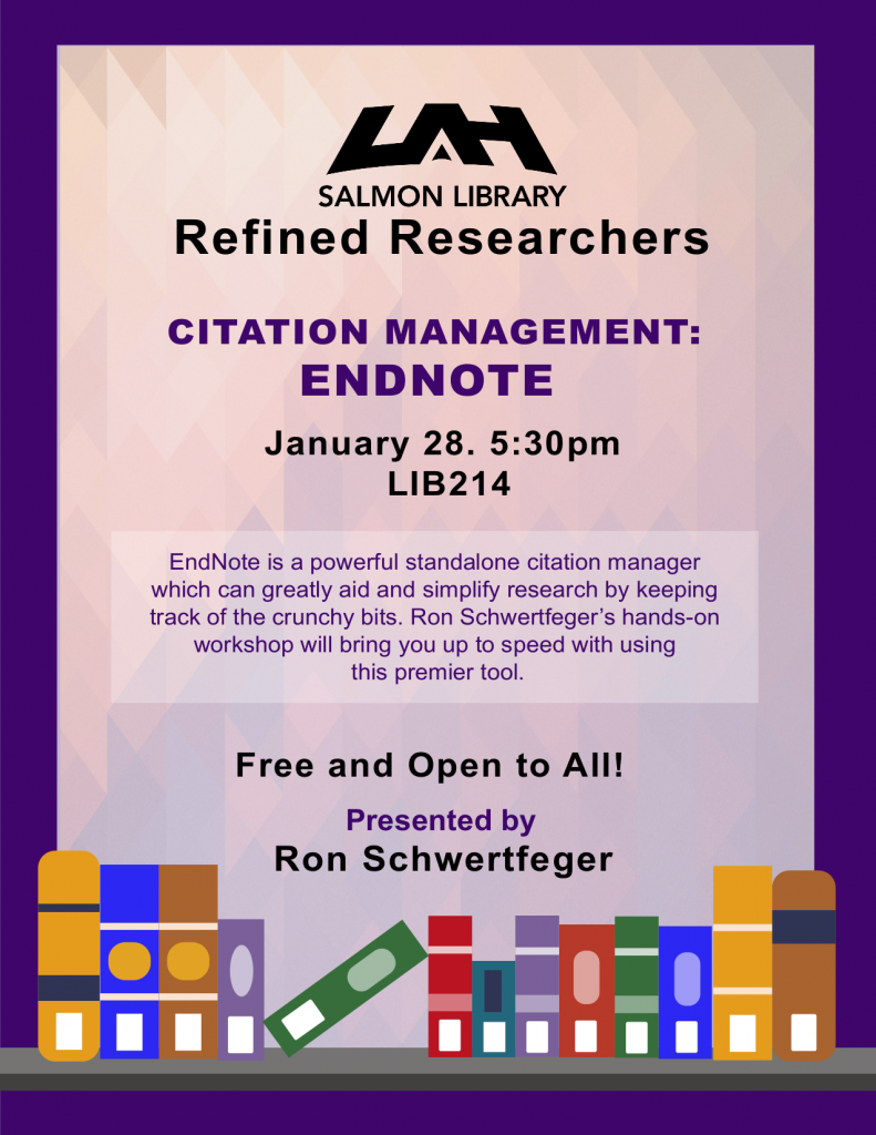 Flyer for EndNote presentation, January 28, 5:30 PM, Salmon Library room 214