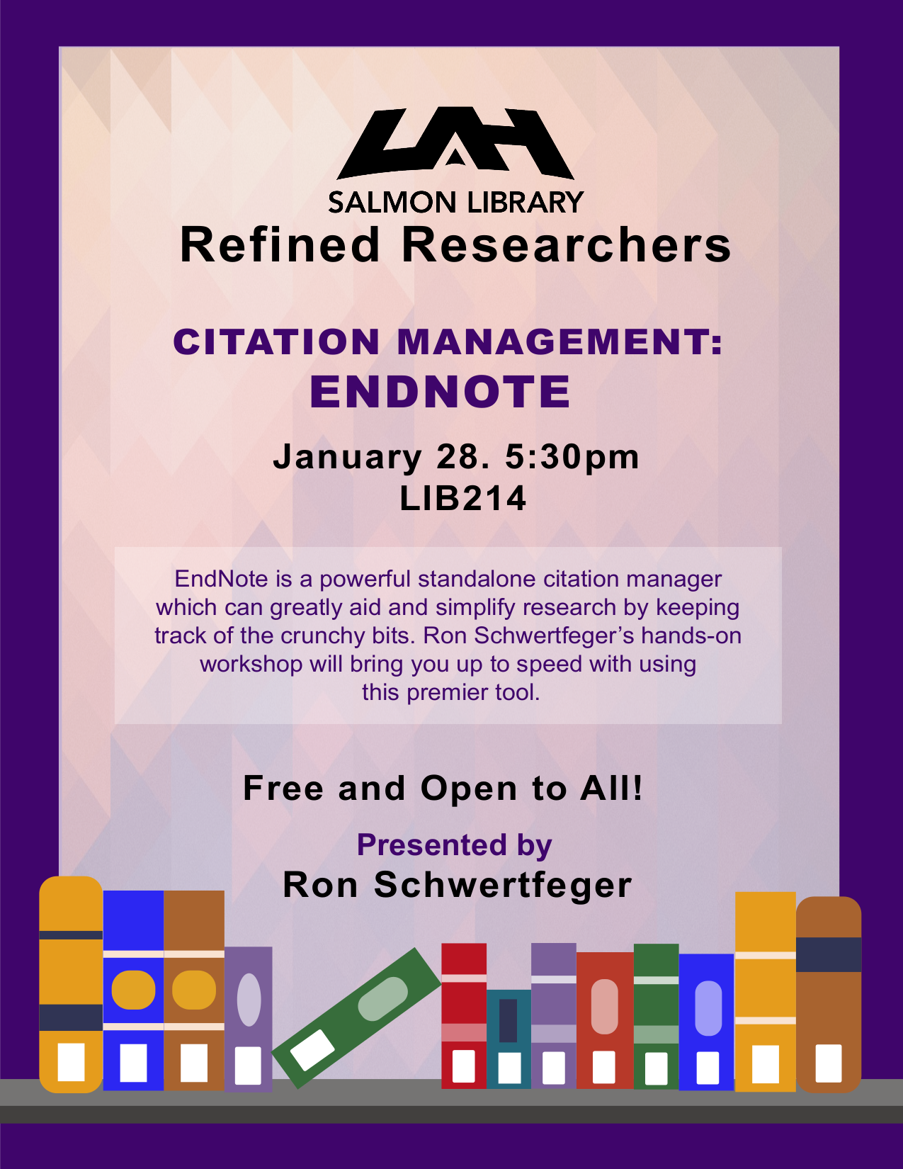 Flyer For Endnote Presentation, January 28, 5:30 Pm, Salmon Library Room